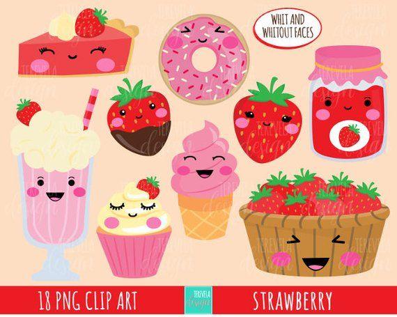 Kawaii clipart dessert.  sale strawberry fruit