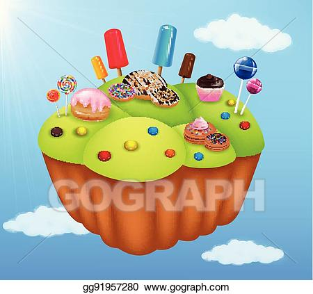 Desserts clipart land. Vector stock cartoon fantasy