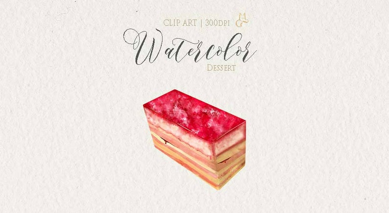 Dessert clipart mousse cake. Watercolor strawberry party invitation