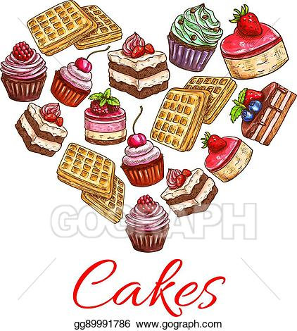 Desserts clipart pastry. Vector stock i love