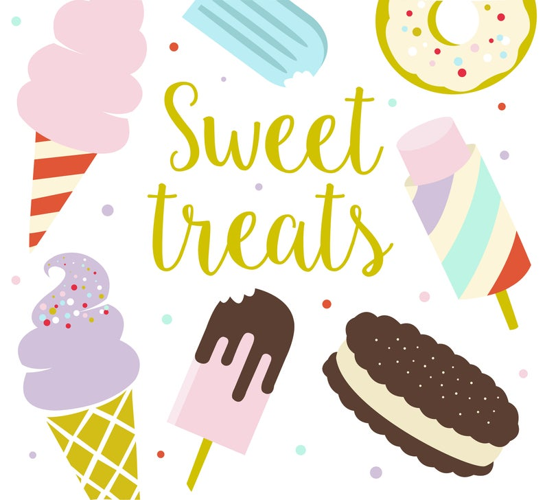 Sweet treats ice cream. Dessert clipart summer