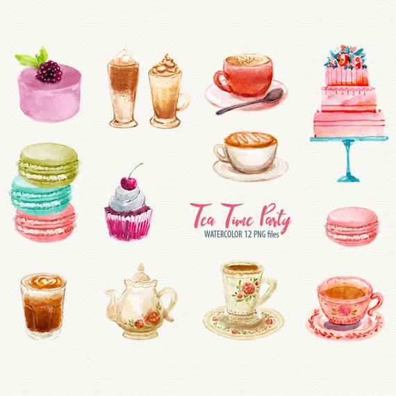 Desserts clipart tea party. Time cupcake