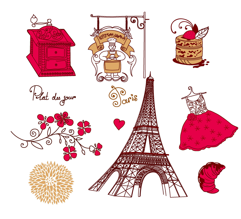 Tilt th drawing red. France clipart paris vintage