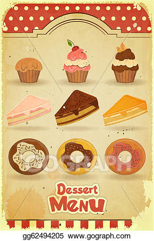Vector stock dessert menu. Desserts clipart vintage