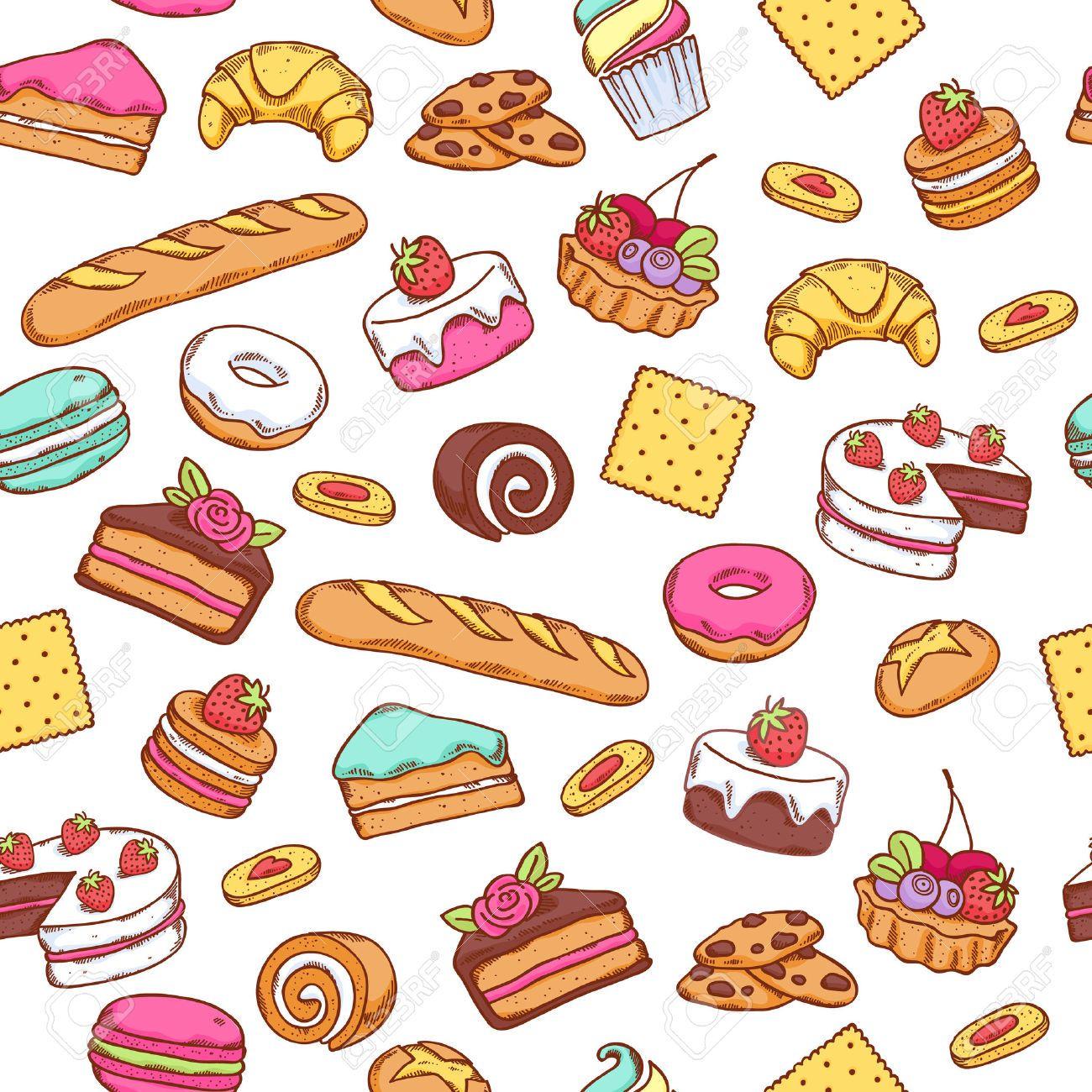 illustrated flour patterns. Dessert clipart wallpaper