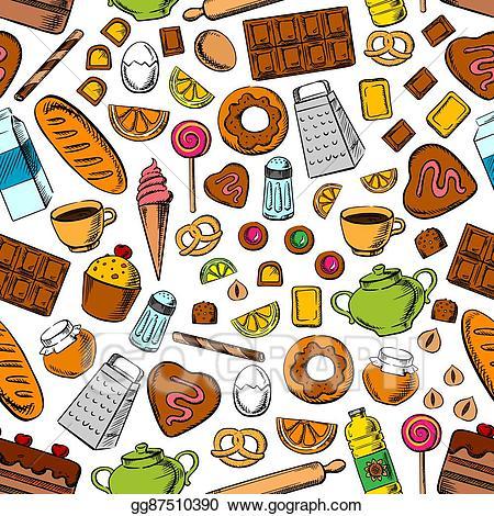 Dessert clipart wallpaper. Eps illustration desserts and