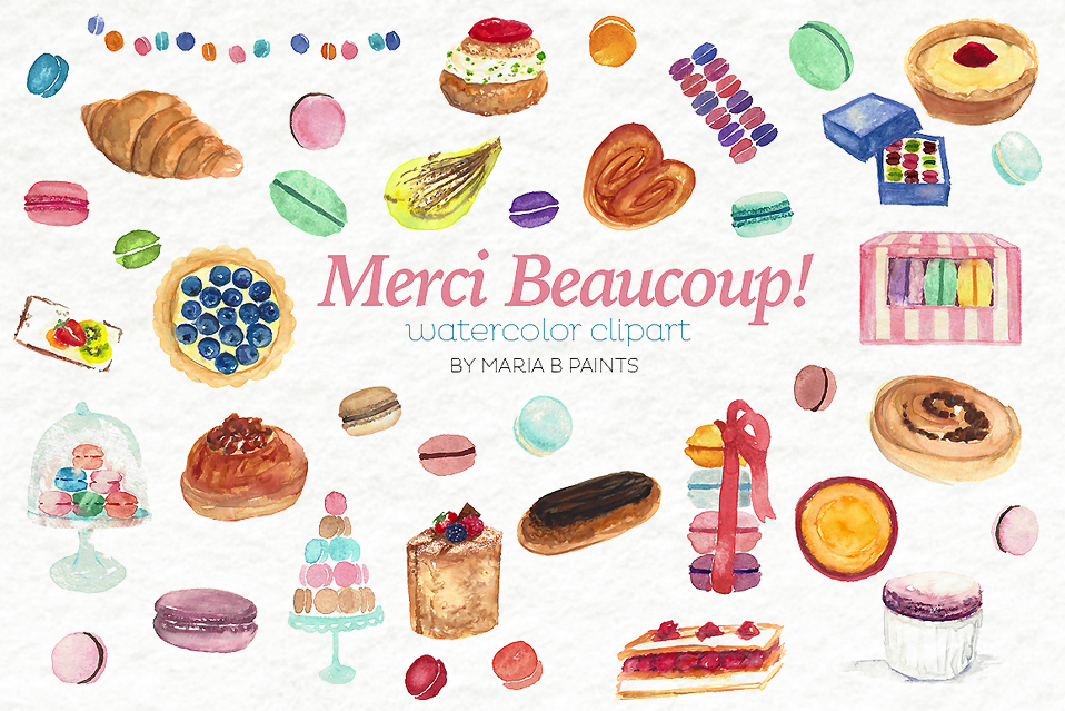 Desserts clipart watercolor. French pastry dessert bundle