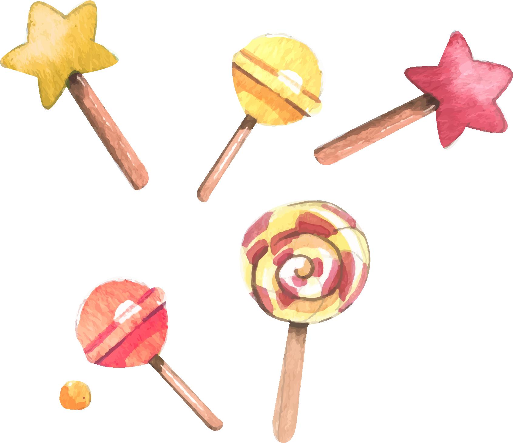 Lollipop tong sui dessert. Desserts clipart watercolor