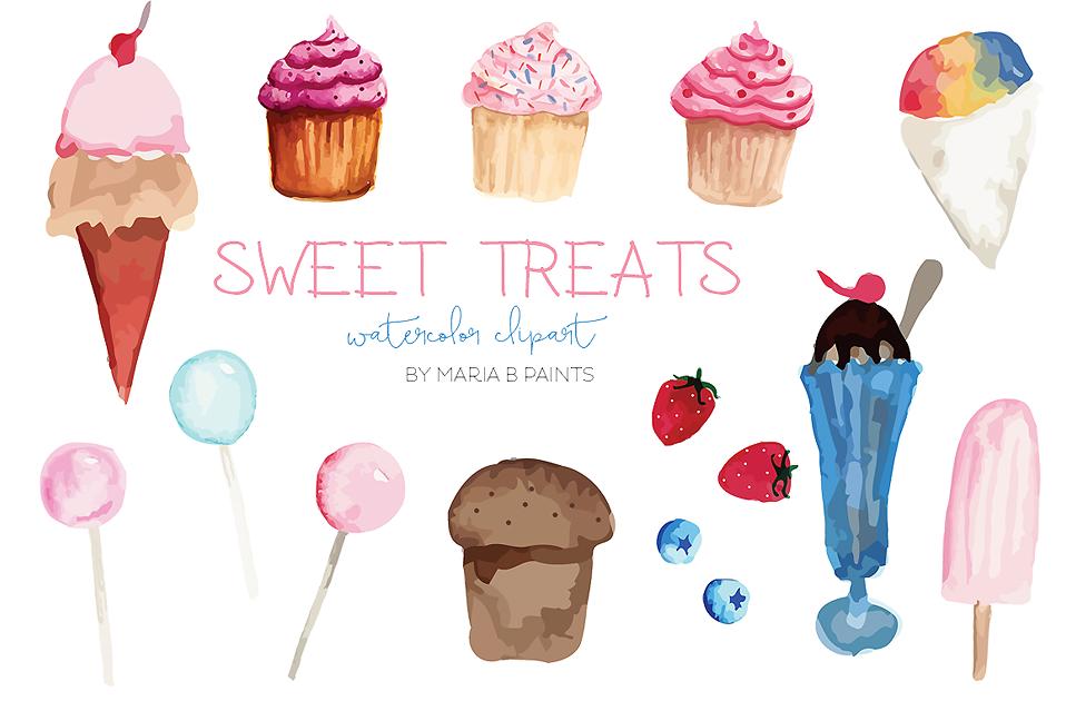 Sweet treat dessert . Desserts clipart watercolor
