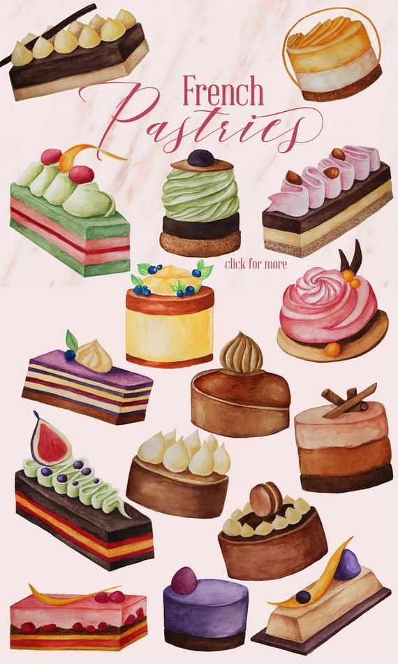 Watercolor french pastries dessert. France clipart pastery