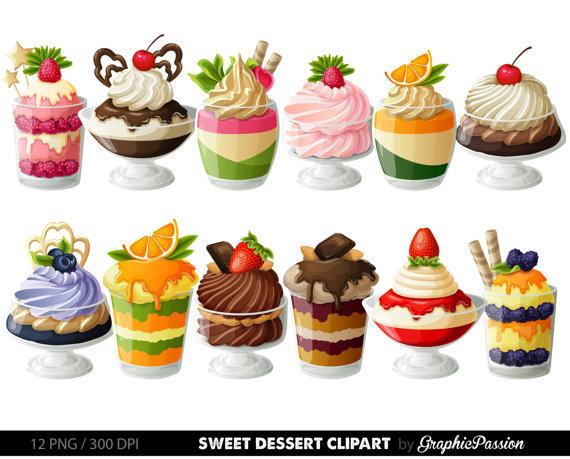 Digital cake clip art. Desserts clipart