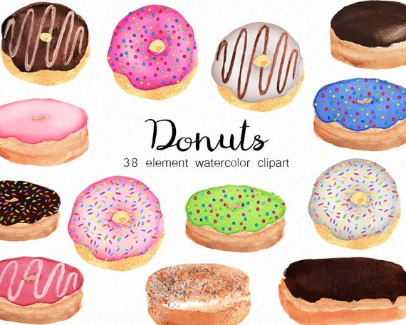 Watercolor donuts kitchen food. Desserts clipart bakery item
