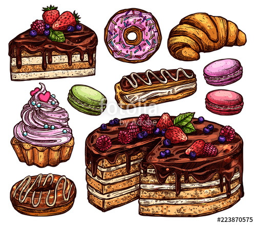 Desserts clipart bakery item. Sketch collection of products