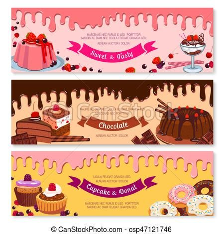 Desserts clipart banner. Cake dessert and ice