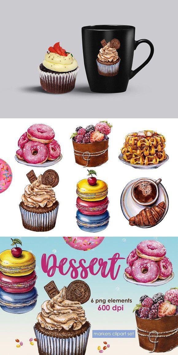 Coffee design clip art. Desserts clipart banner
