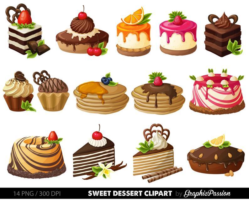 Desserts clipart cake. Digital pastry clip art