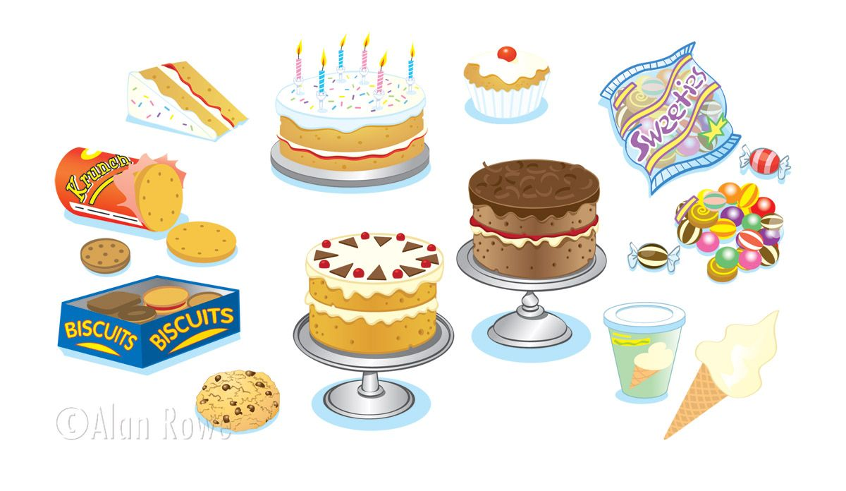 Cakes biscuits and sweets. Desserts clipart cake biscuit