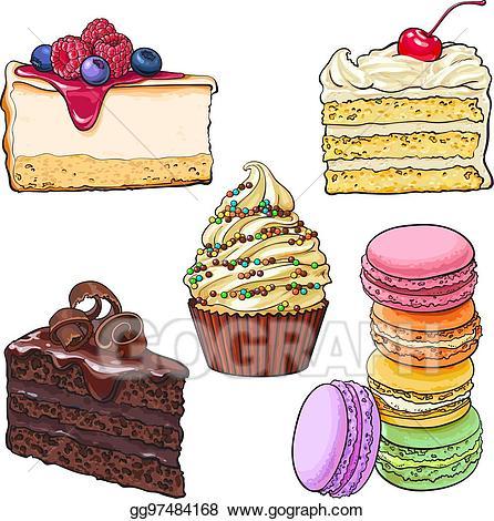 Vector set of cupcake. Desserts clipart cake