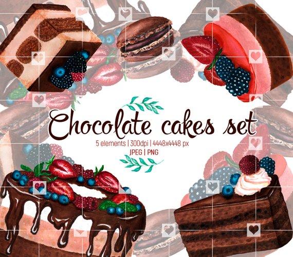 Sweet watercolor chocolate cakes. Desserts clipart dessert bar