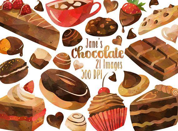 Watercolor chocolate download graphics. Desserts clipart dessert bar