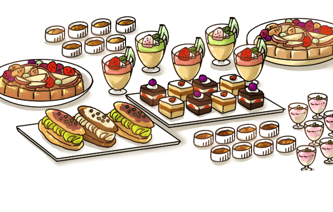 Desserts clipart dessert buffet. Gurunavi japan restaurant guide