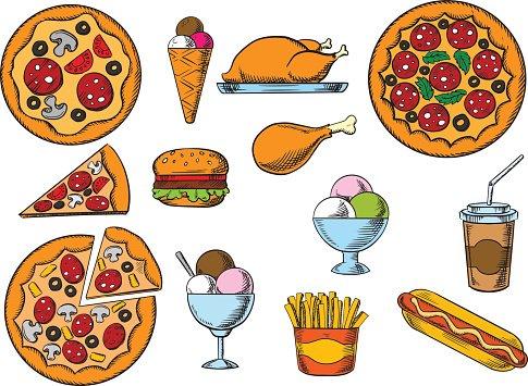 Fast drinks and menu. Desserts clipart dessert food