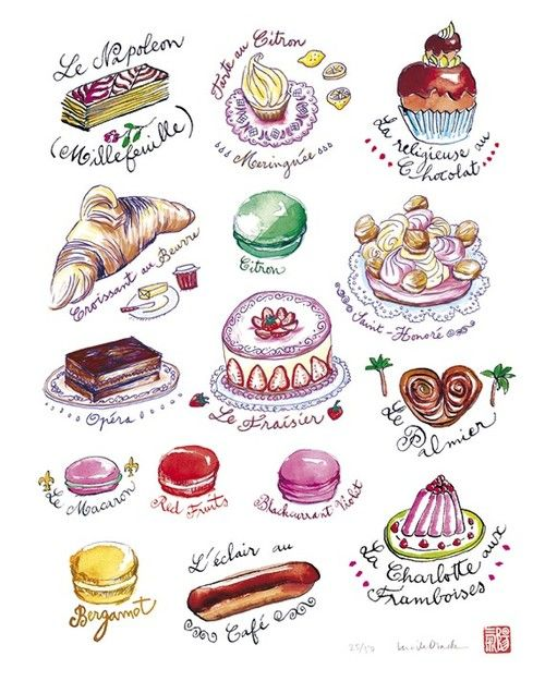 Poster art illustrations . Desserts clipart dessert french