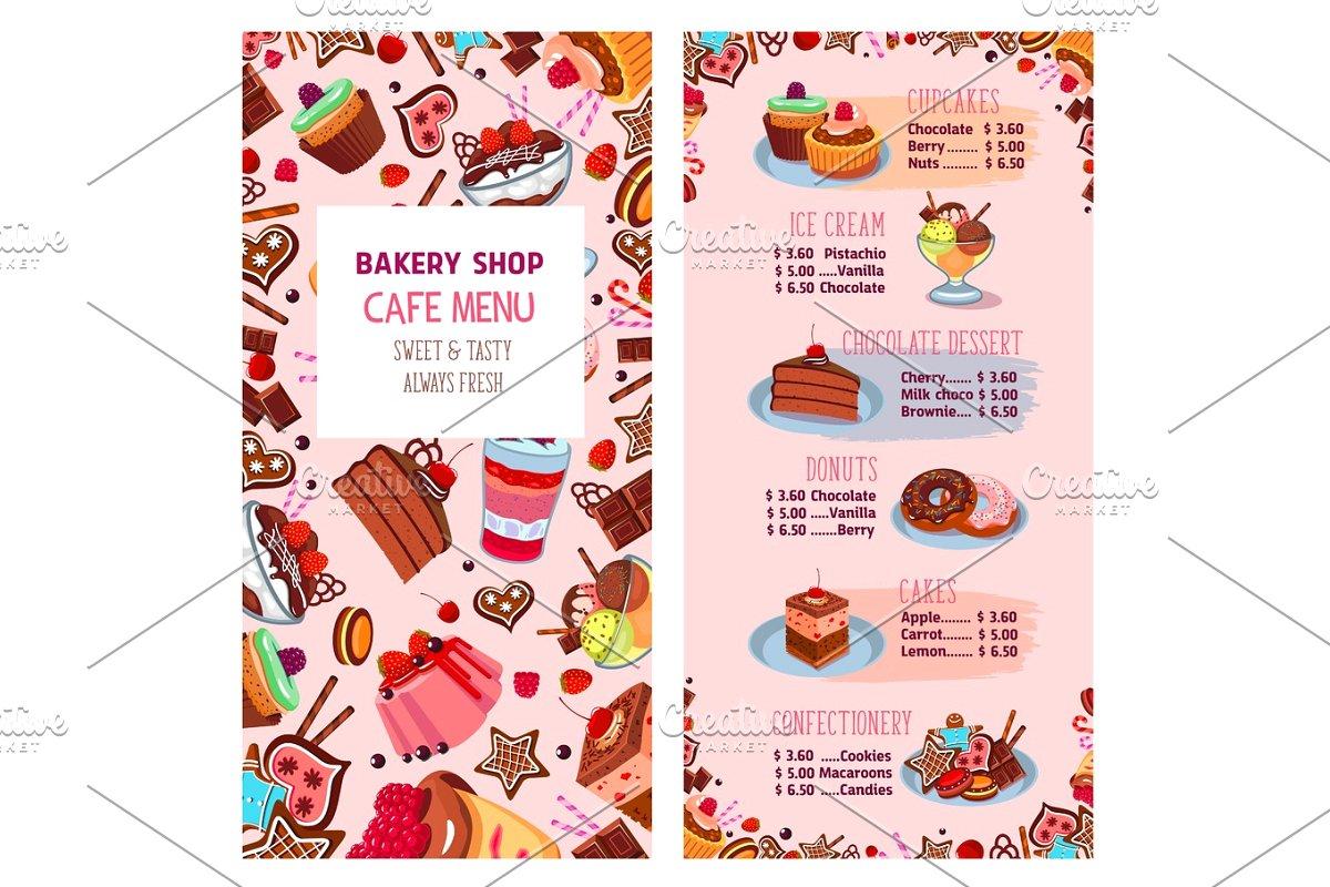 Desserts clipart dessert menu. Vector template for bakery