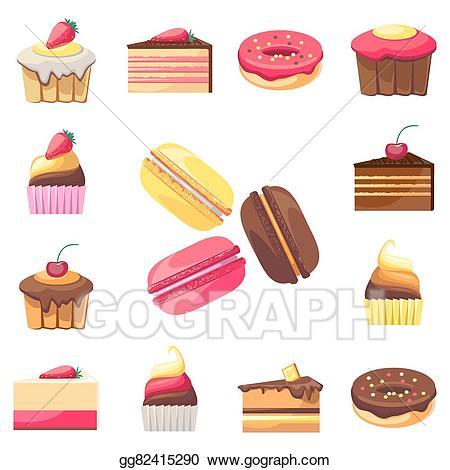 Vector illustration set of. Desserts clipart dessert menu