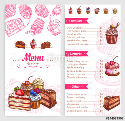 Vector pastry with cakes. Desserts clipart dessert menu