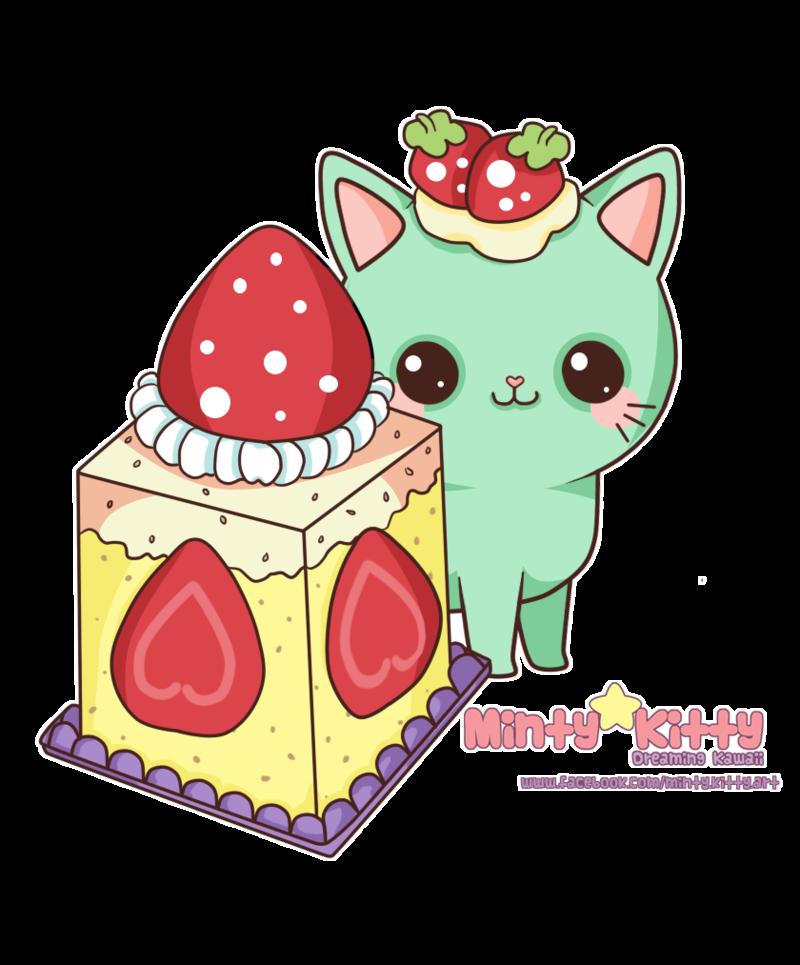 Minty kitty art pinterest. Kawaii clipart dessert