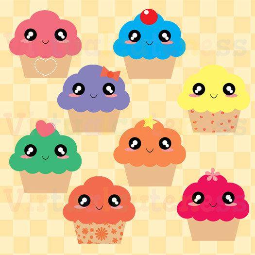 Cupcake sweets food . Kawaii clipart dessert