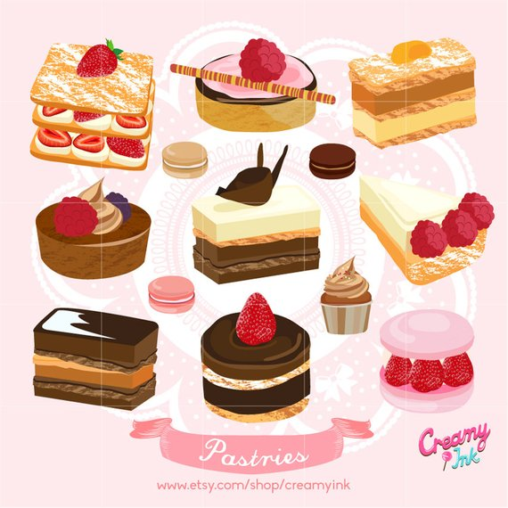 Cake digital vector clip. Desserts clipart pastry