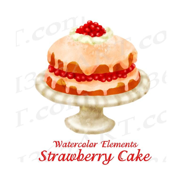 off watercolor cake. Desserts clipart strawberry shortcake dessert