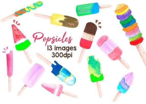 Desserts clipart summer. Watercolor popsicles popsicle clip