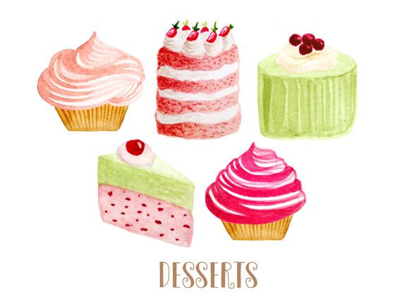 Cupcake bakery cakes . Desserts clipart tea party