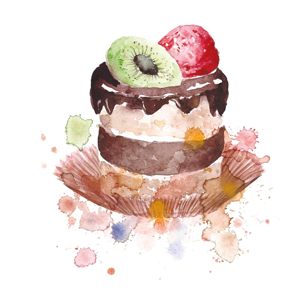Birthday cake macaron cupcake. Desserts clipart watercolor