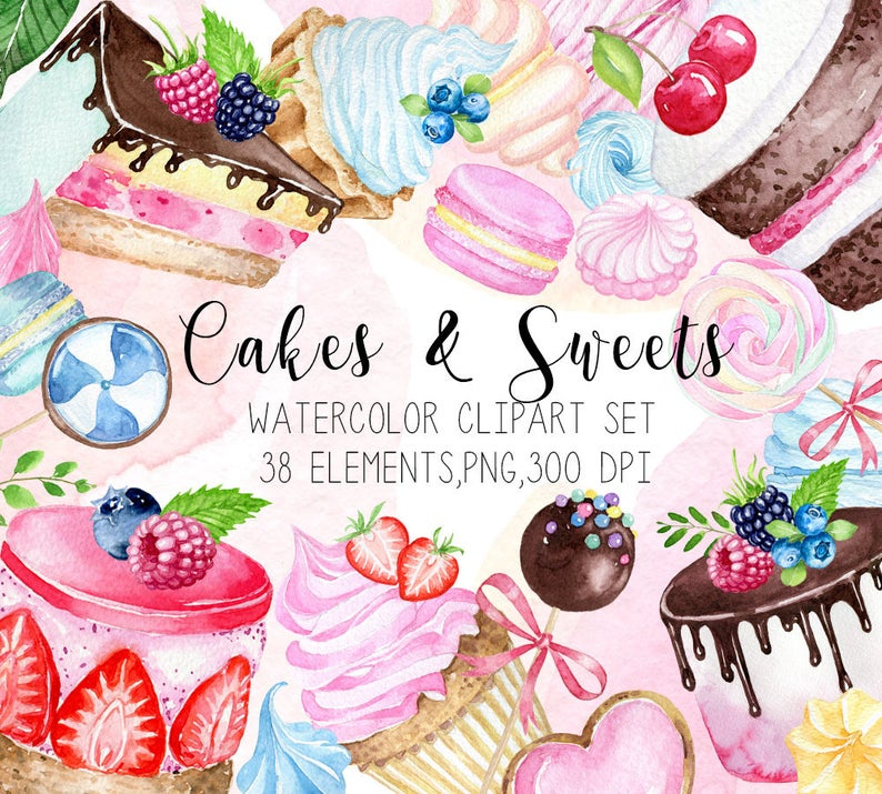 Cakes cupcakes candy sweets. Desserts clipart watercolor
