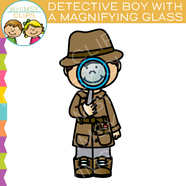 With a magnifying glass. Detective clipart boy