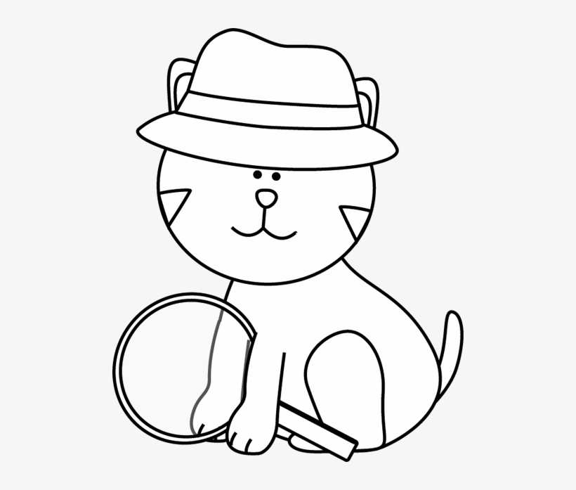 Black and white free. Detective clipart cat