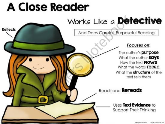 Fourth grade purposeful lessons. Detective clipart close reading