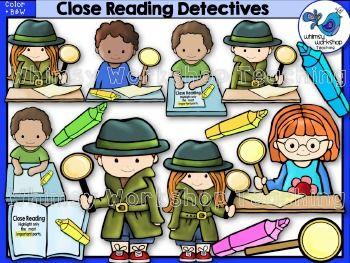 Detective clipart close reading. Detectives clip art library