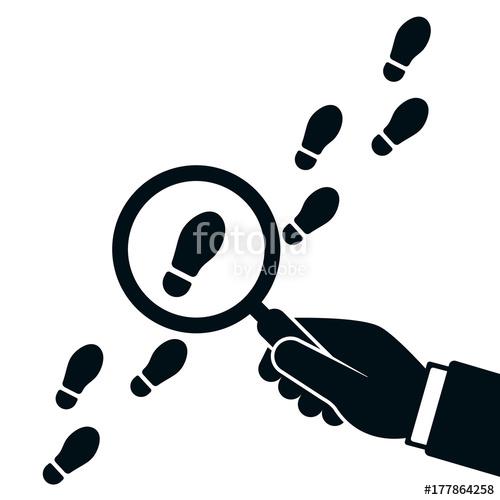 Following footsteps vector illustration. Detective clipart footprints