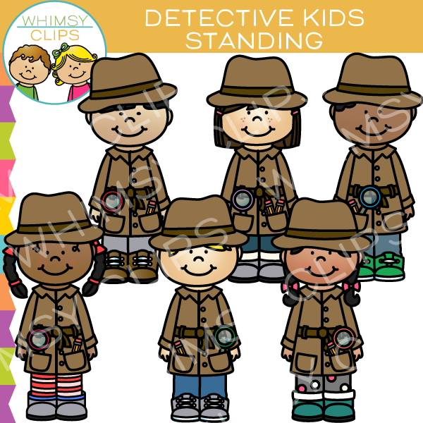Detective clipart group. Clip art images illustrations