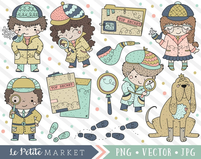 Cute sleuth set detective. Evidence clipart kit