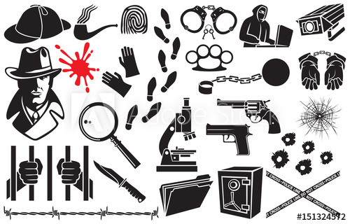 Vector icons set sherlock. Detective clipart microscope