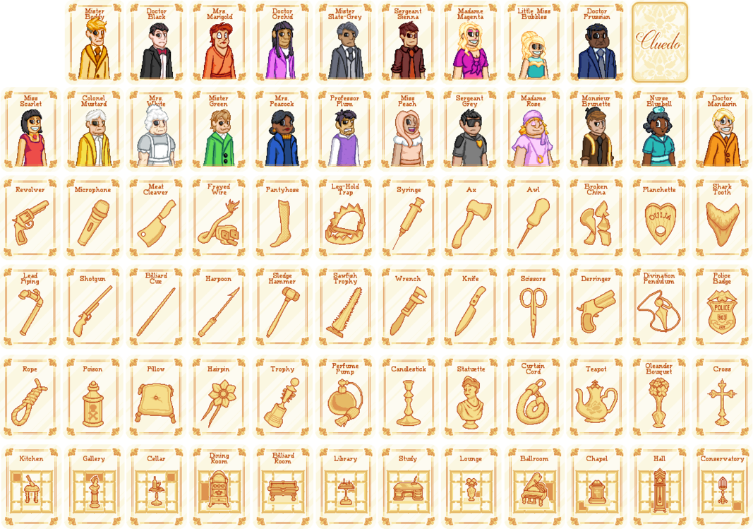 Cluedo cards by sugarysweetsprites. Mystery clipart door prize
