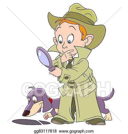 Evidence clipart mystery solved. Vector stock smart young