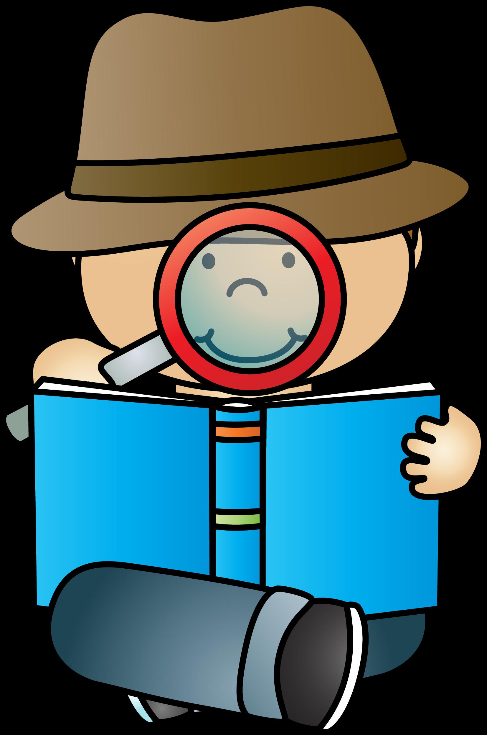 Reading private investigator clip. Detective clipart non fiction