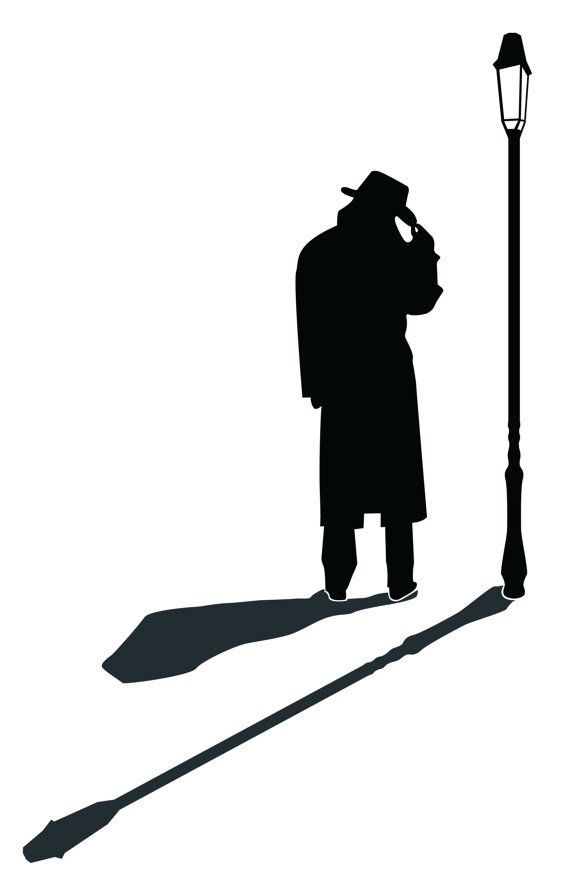 Lamp silhouette man wall. Detective clipart street